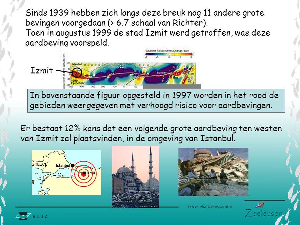 V L I Z www.vliz.be/educatie Zeelessen Sinds 1939 hebben zich langs deze breuk nog 11 andere grote bevingen voorgedaan (> 6.7 schaal van Richter). Toe