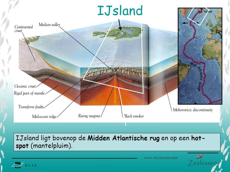 V L I Z www.vliz.be/educatie Zeelessen IJsland ligt bovenop de Midden Atlantische rug en op een hot- spot (mantelpluim). IJsland