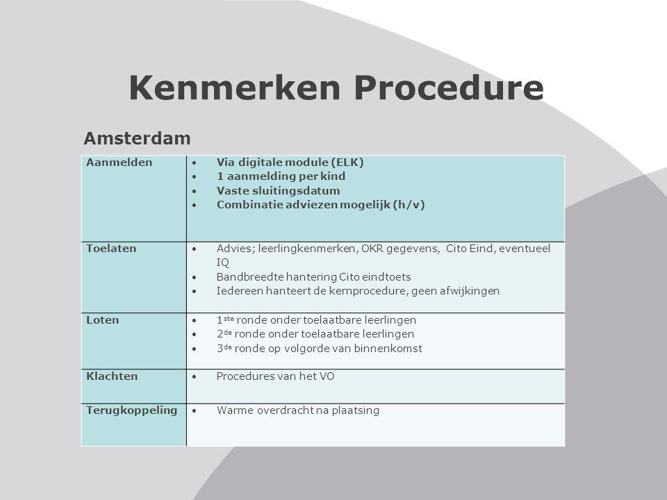 Kenmerken Procedure Utrecht Aanmelden Twijfeldossiers via SWV Via digitale module (OT) 1 aanmelding per kind Vaste sluitingsdatum Alleen enkelvoudige adviezen mogelijk Toelaten Advies leerkracht ondersteund door LVS van 6, 7, 8 BL en RK Cito Eind in 2 delen: taal- en rekenpercentiel (evt.