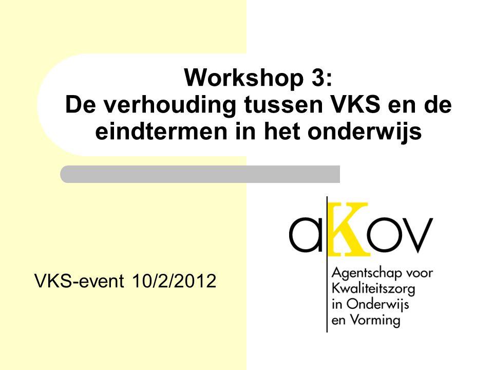 Workshop 3: De verhouding tussen VKS en de eindtermen in het onderwijs VKS-event 10/2/2012