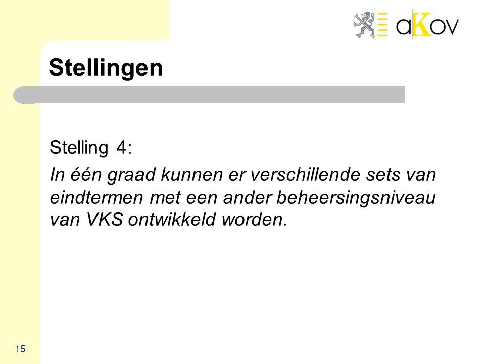 Stellingen Stelling 4: In één graad kunnen er verschillende sets van eindtermen met een ander beheersingsniveau van VKS ontwikkeld worden.