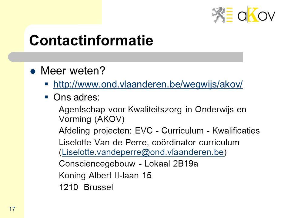 17 Contactinformatie  Meer weten.