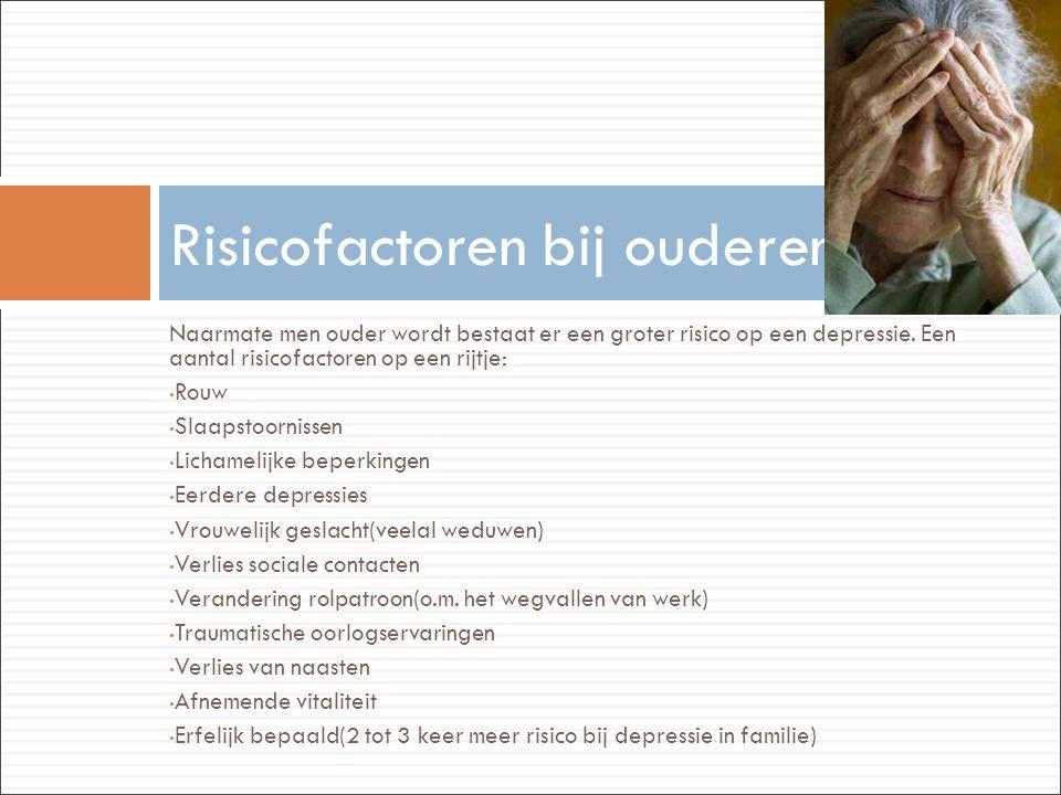 Naarmate men ouder wordt bestaat er een groter risico op een depressie. Een aantal risicofactoren op een rijtje: • Rouw • Slaapstoornissen • Lichameli