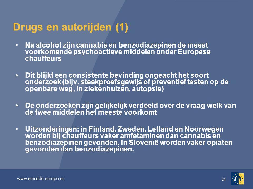 24 Drugs en autorijden (1) •Na alcohol zijn cannabis en benzodiazepinen de meest voorkomende psychoactieve middelen onder Europese chauffeurs •Dit blijkt een consistente bevinding ongeacht het soort onderzoek (bijv.