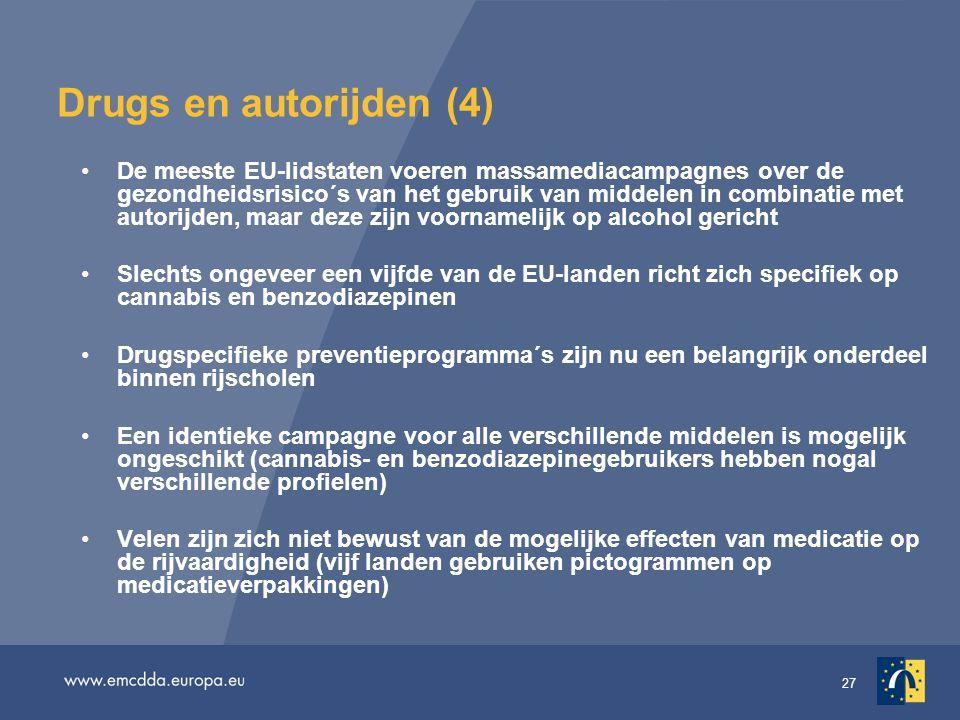 27 Drugs en autorijden (4) •De meeste EU-lidstaten voeren massamediacampagnes over de gezondheidsrisico´s van het gebruik van middelen in combinatie met autorijden, maar deze zijn voornamelijk op alcohol gericht •Slechts ongeveer een vijfde van de EU-landen richt zich specifiek op cannabis en benzodiazepinen •Drugspecifieke preventieprogramma´s zijn nu een belangrijk onderdeel binnen rijscholen •Een identieke campagne voor alle verschillende middelen is mogelijk ongeschikt (cannabis- en benzodiazepinegebruikers hebben nogal verschillende profielen) •Velen zijn zich niet bewust van de mogelijke effecten van medicatie op de rijvaardigheid (vijf landen gebruiken pictogrammen op medicatieverpakkingen)
