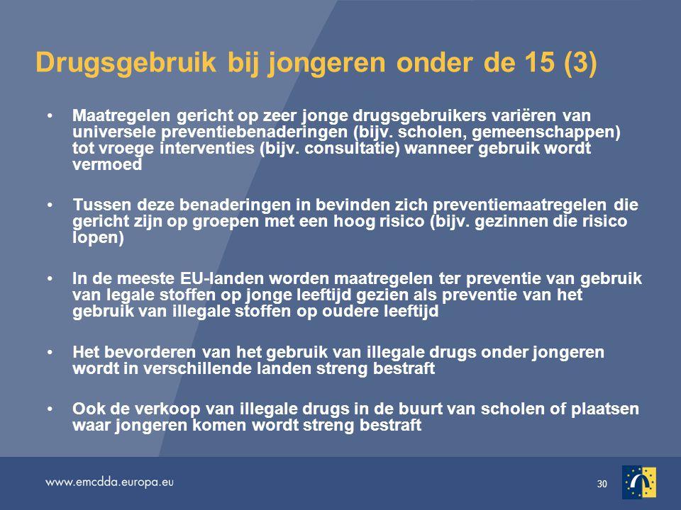 30 Drugsgebruik bij jongeren onder de 15 (3) •Maatregelen gericht op zeer jonge drugsgebruikers variëren van universele preventiebenaderingen (bijv.