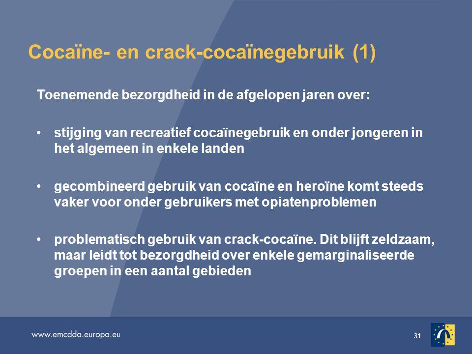 31 Cocaïne- en crack-cocaïnegebruik (1) Toenemende bezorgdheid in de afgelopen jaren over: •stijging van recreatief cocaïnegebruik en onder jongeren in het algemeen in enkele landen •gecombineerd gebruik van cocaïne en heroïne komt steeds vaker voor onder gebruikers met opiatenproblemen •problematisch gebruik van crack-cocaïne.