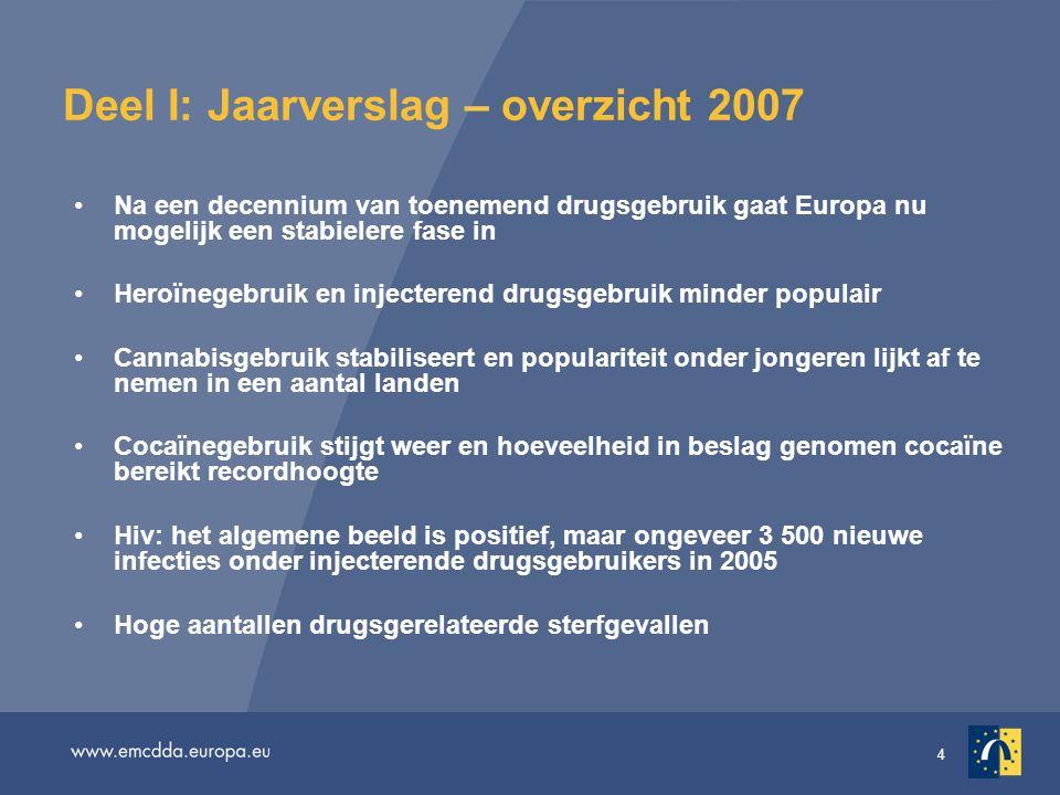 4 Deel I: Jaarverslag – overzicht 2007 •Na een decennium van toenemend drugsgebruik gaat Europa nu mogelijk een stabielere fase in •Heroïnegebruik en injecterend drugsgebruik minder populair •Cannabisgebruik stabiliseert en populariteit onder jongeren lijkt af te nemen in een aantal landen •Cocaïnegebruik stijgt weer en hoeveelheid in beslag genomen cocaïne bereikt recordhoogte •Hiv: het algemene beeld is positief, maar ongeveer 3 500 nieuwe infecties onder injecterende drugsgebruikers in 2005 •Hoge aantallen drugsgerelateerde sterfgevallen