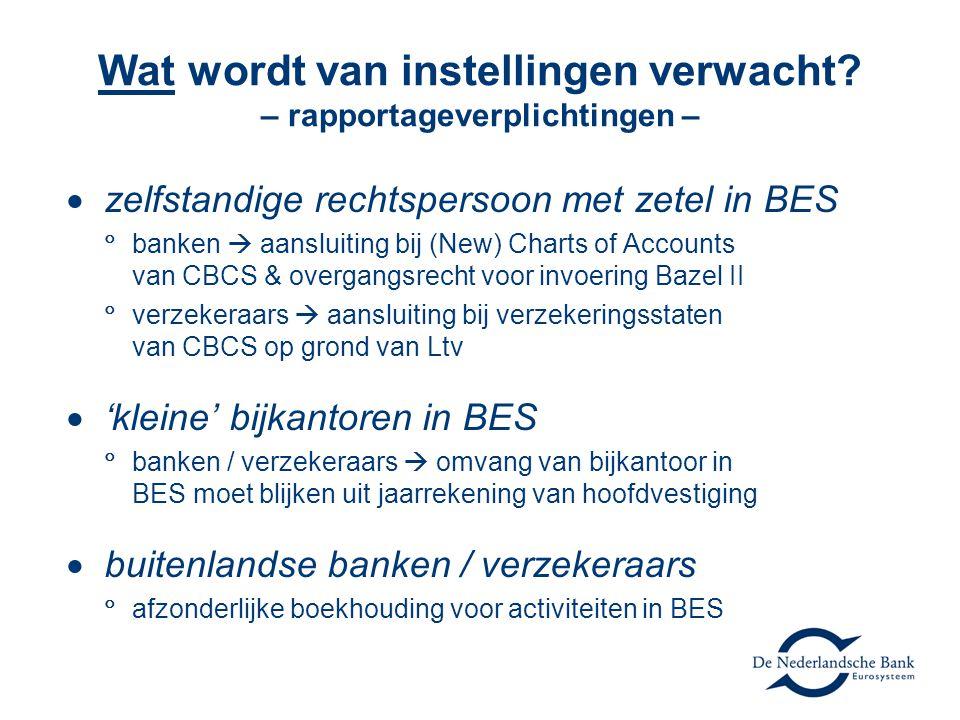  zelfstandige rechtspersoon met zetel in BES  banken  aansluiting bij (New) Charts of Accounts van CBCS & overgangsrecht voor invoering Bazel II  verzekeraars  aansluiting bij verzekeringsstaten van CBCS op grond van Ltv  'kleine' bijkantoren in BES  banken / verzekeraars  omvang van bijkantoor in BES moet blijken uit jaarrekening van hoofdvestiging  buitenlandse banken / verzekeraars  afzonderlijke boekhouding voor activiteiten in BES Wat wordt van instellingen verwacht.