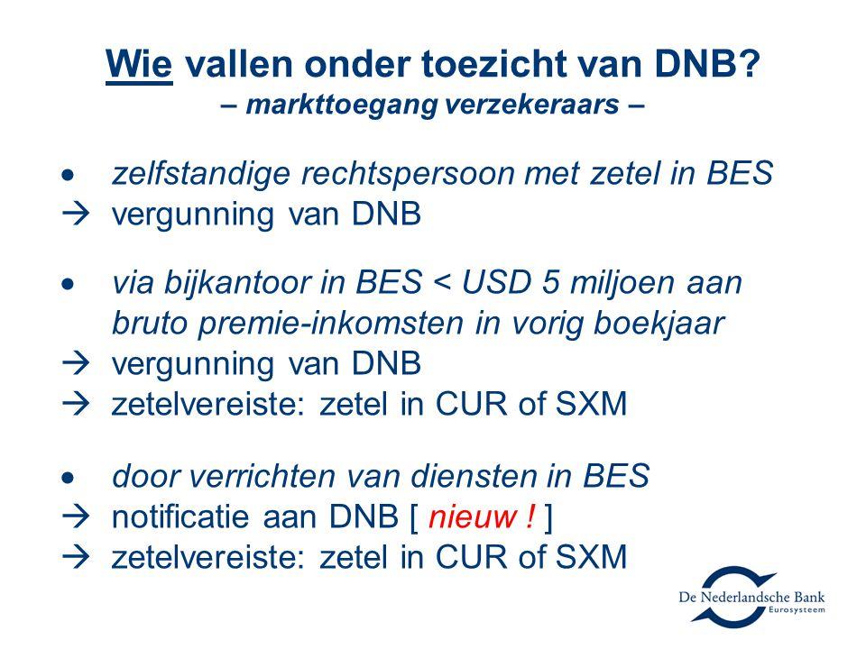 Wie vallen onder toezicht van DNB? – markttoegang verzekeraars –  zelfstandige rechtspersoon met zetel in BES  vergunning van DNB  via bijkantoor i