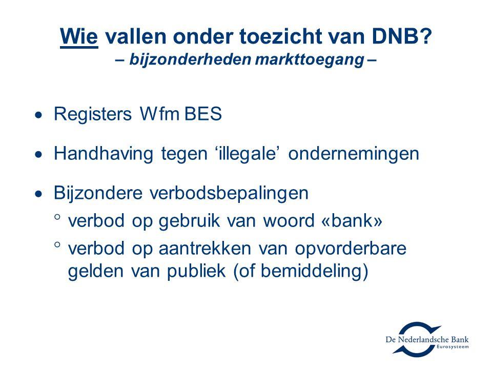 Wie vallen onder toezicht van DNB? – bijzonderheden markttoegang –  Registers Wfm BES  Handhaving tegen 'illegale' ondernemingen  Bijzondere verbod