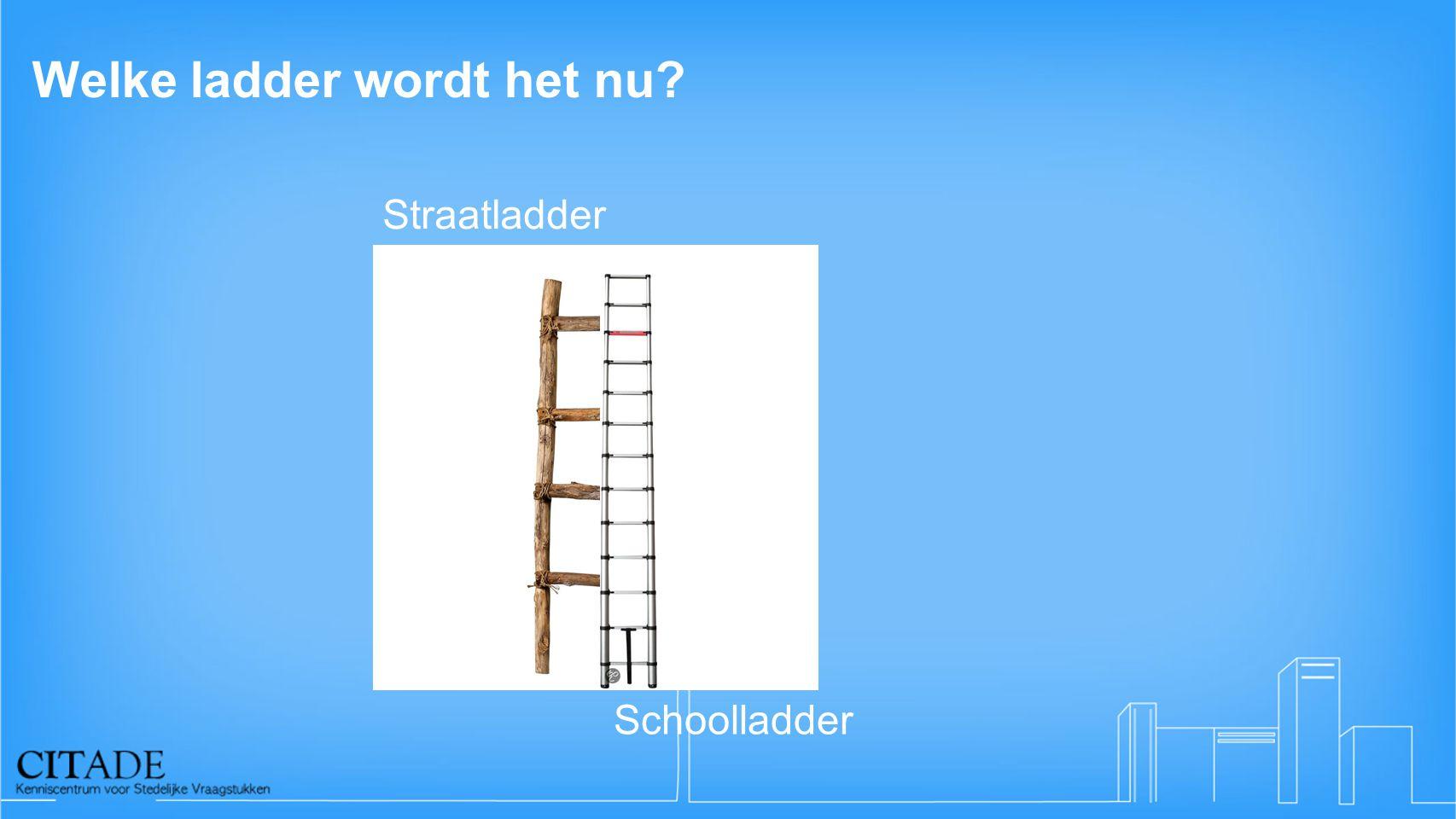 Welke ladder wordt het nu? Straatladder Schoolladder