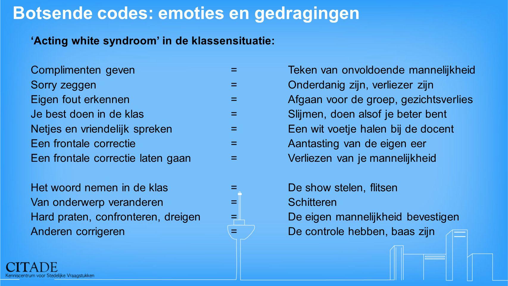 Botsende codes: emoties en gedragingen 'Acting white syndroom' in de klassensituatie: Complimenten geven = Teken van onvoldoende mannelijkheid Sorry z