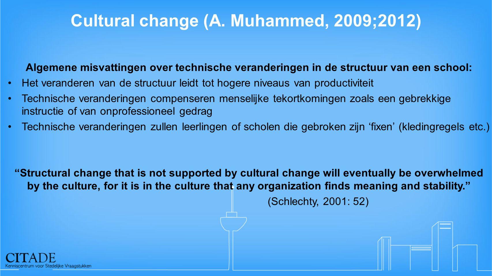 Cultural change (A. Muhammed, 2009;2012) Algemene misvattingen over technische veranderingen in de structuur van een school: •Het veranderen van de st