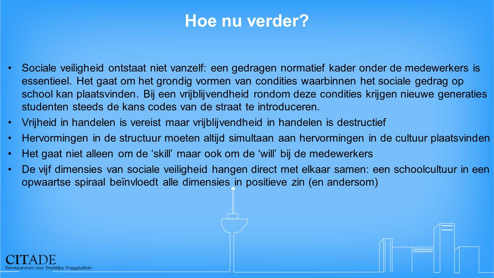 Hoe nu verder? •Sociale veiligheid ontstaat niet vanzelf: een gedragen normatief kader onder de medewerkers is essentieel. Het gaat om het grondig vor
