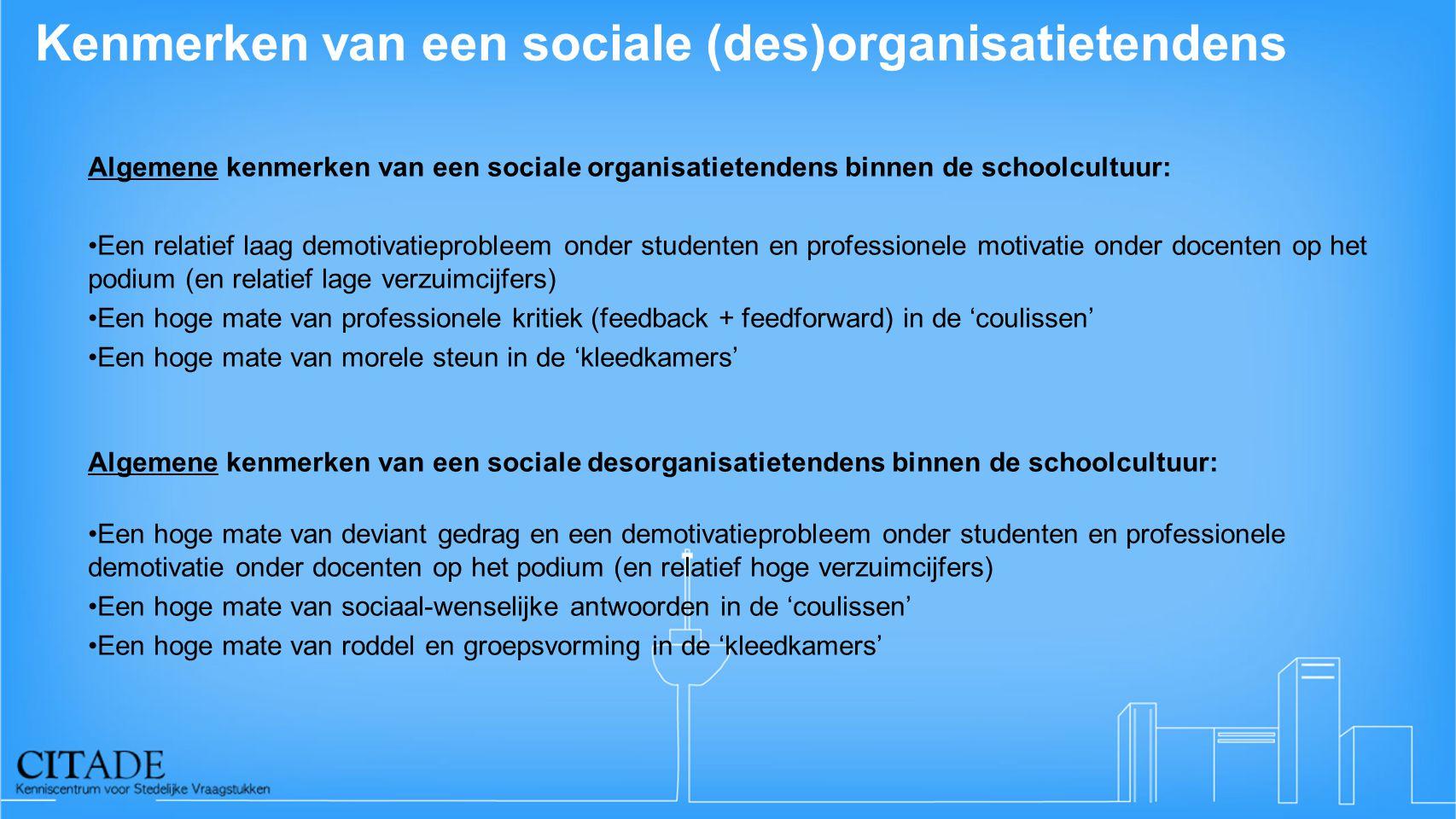 Kenmerken van een sociale (des)organisatietendens Algemene kenmerken van een sociale organisatietendens binnen de schoolcultuur: •Een relatief laag de