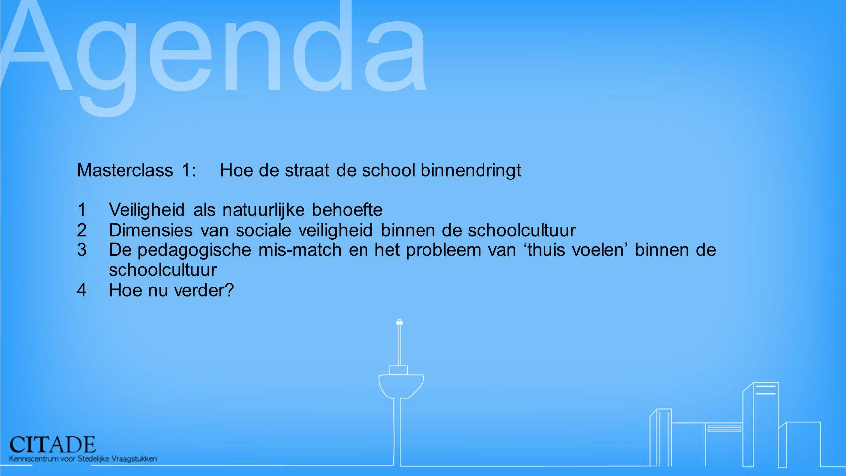 Agenda Masterclass 1:Hoe de straat de school binnendringt 1Veiligheid als natuurlijke behoefte 2Dimensies van sociale veiligheid binnen de schoolcultu