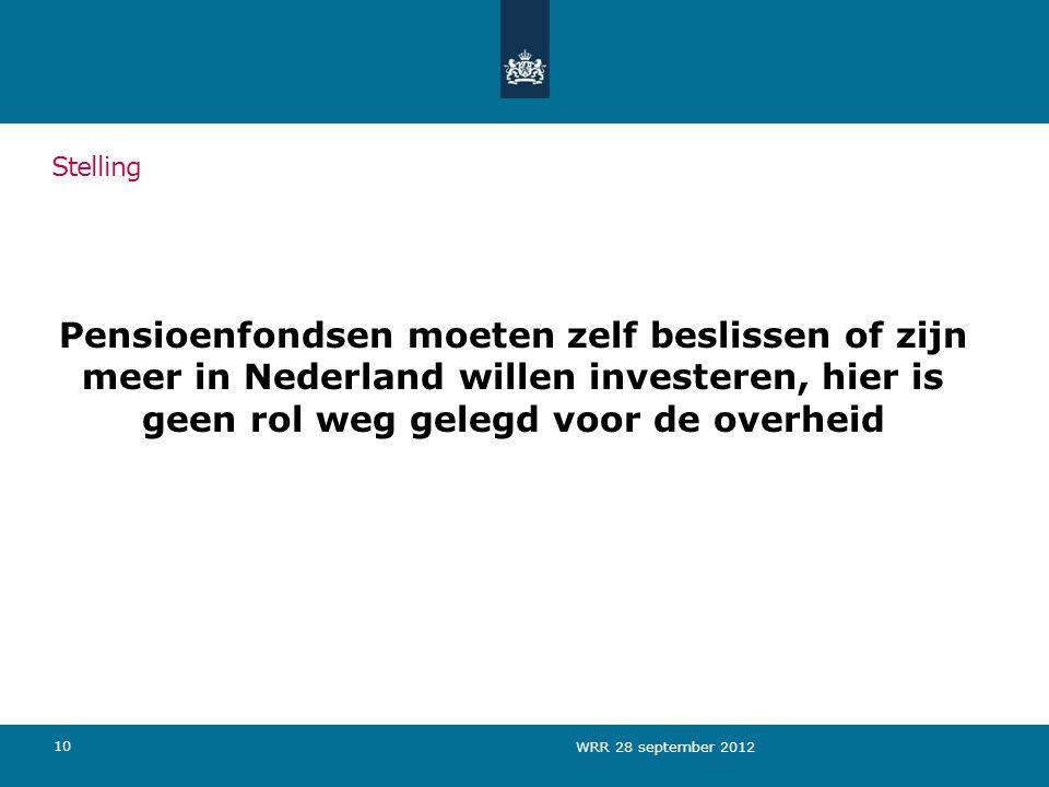 Pensioenfondsen moeten zelf beslissen of zijn meer in Nederland willen investeren, hier is geen rol weg gelegd voor de overheid 10 Stelling WRR 28 september 2012