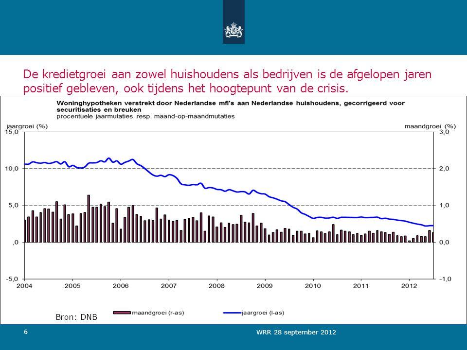 6 De kredietgroei aan zowel huishoudens als bedrijven is de afgelopen jaren positief gebleven, ook tijdens het hoogtepunt van de crisis.
