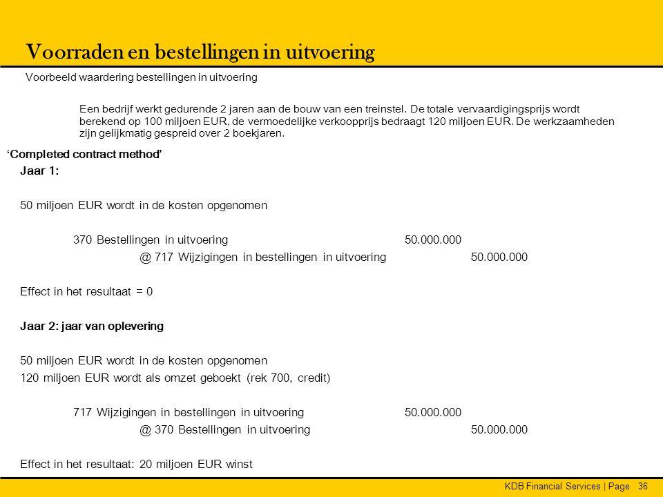 KDB Financial Services | Page36 Voorraden en bestellingen in uitvoering Voorbeeld waardering bestellingen in uitvoering Een bedrijf werkt gedurende 2