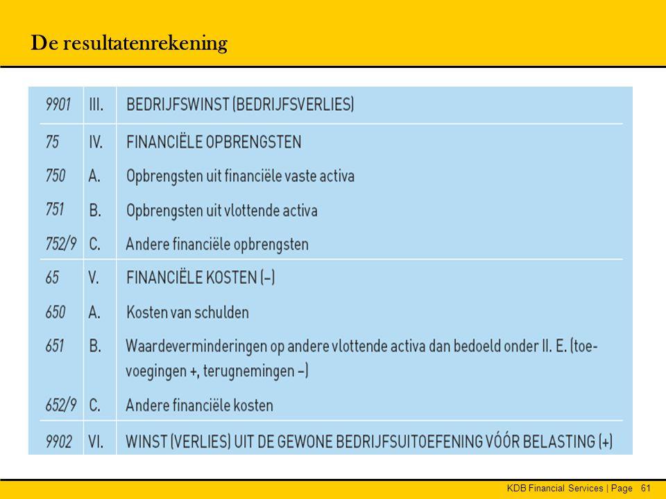 KDB Financial Services | Page61 De resultatenrekening