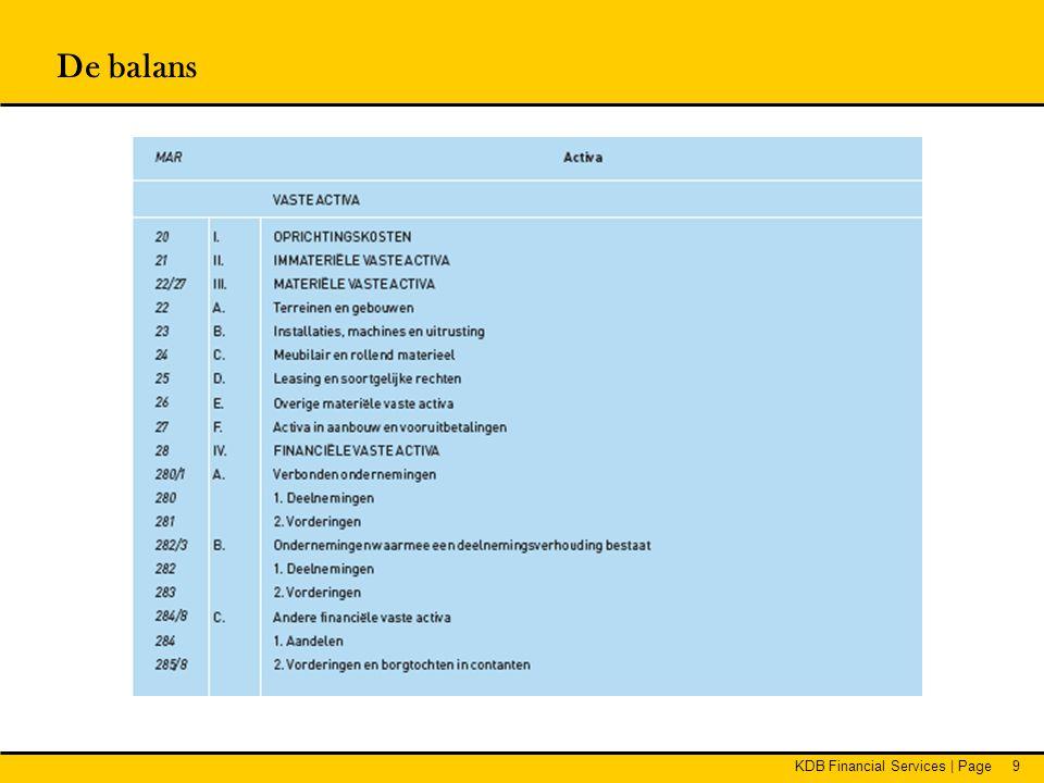 KDB Financial Services   Page30 Waardering BE GAAP •Vorderingen aan nominale waarde •Deelnemingen, aandelen en vastrentende effecten aan aanschaffingswaarde •Bijkomende kosten bij aanschaffing mogen onmiddellijk ten laste genomen worden •Waardeverminderingen:  Op deelnemingen en aandelen bij duurzame minderwaarde of ontwaarding  Op vorderingen bij onzekerheid over betaling op vervaldag •Herwaardering mogelijk Aandachtspunten •Ook continuïteit dochterondernemingen is belangrijk •Geconsolideerde gegevens kunnen meer duiding geven Financiële vaste activa