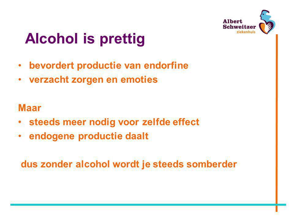 Alcohol is prettig •bevordert productie van endorfine •verzacht zorgen en emoties Maar •steeds meer nodig voor zelfde effect •endogene productie daalt dus zonder alcohol wordt je steeds somberder