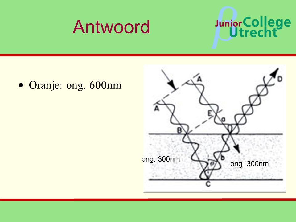 β Antwoord ong. 300nm • Oranje: ong. 600nm