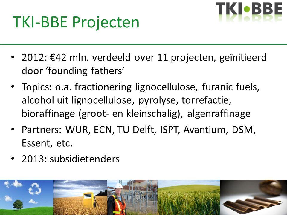 TKI-BBE Projecten • 2012: €42 mln. verdeeld over 11 projecten, geïnitieerd door 'founding fathers' • Topics: o.a. fractionering lignocellulose, furani