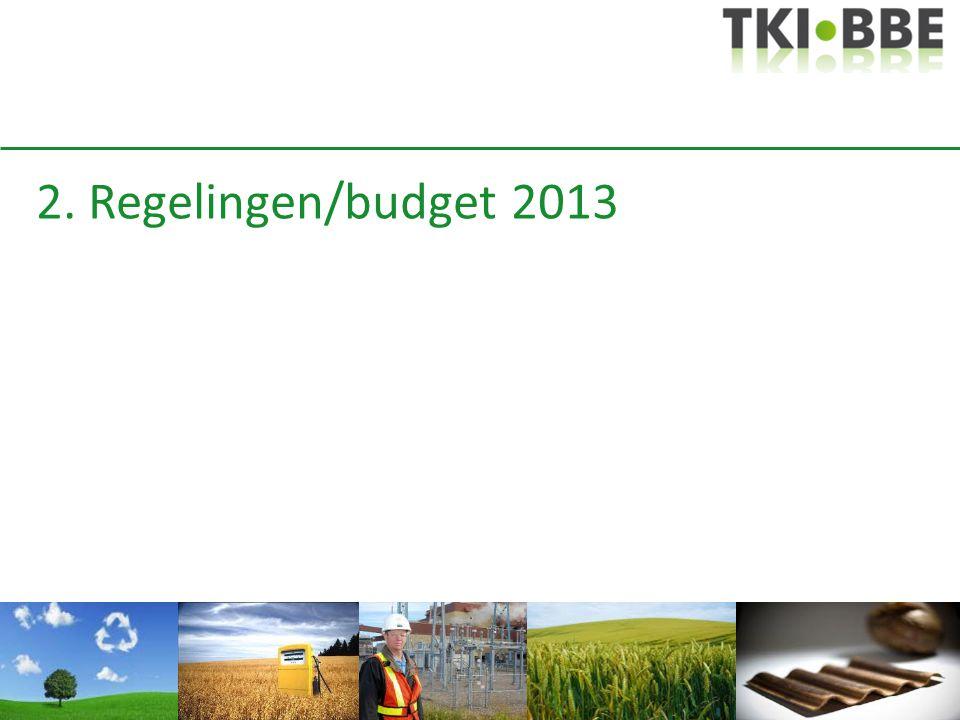 2. Regelingen/budget 2013