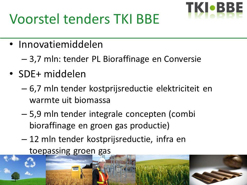 Voorstel tenders TKI BBE • Innovatiemiddelen – 3,7 mln: tender PL Bioraffinage en Conversie • SDE+ middelen – 6,7 mln tender kostprijsreductie elektri