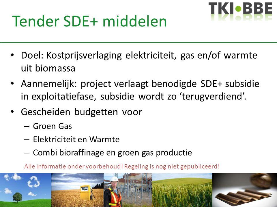 Tender SDE+ middelen • Doel: Kostprijsverlaging elektriciteit, gas en/of warmte uit biomassa • Aannemelijk: project verlaagt benodigde SDE+ subsidie i