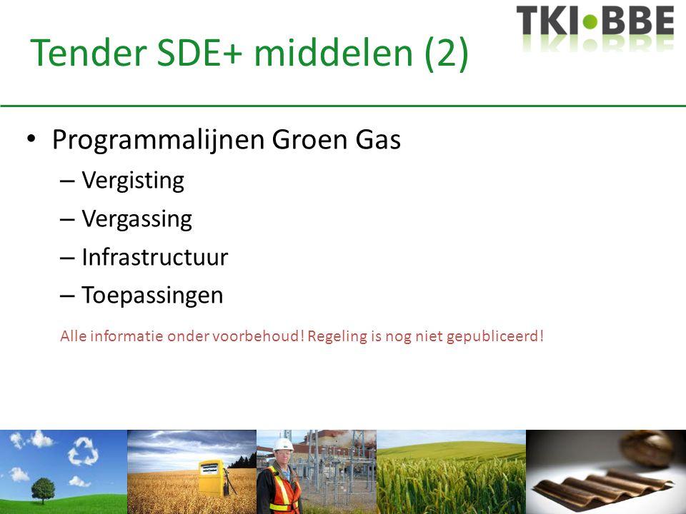 Tender SDE+ middelen (2) • Programmalijnen Groen Gas – Vergisting – Vergassing – Infrastructuur – Toepassingen Alle informatie onder voorbehoud! Regel