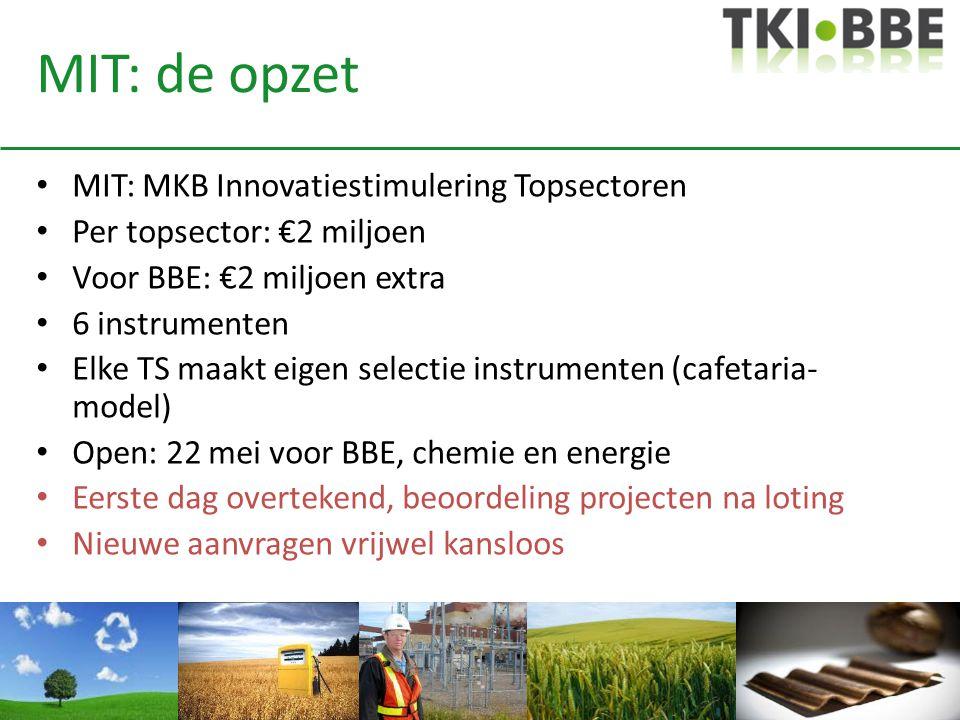 MIT: de opzet • MIT: MKB Innovatiestimulering Topsectoren • Per topsector: €2 miljoen • Voor BBE: €2 miljoen extra • 6 instrumenten • Elke TS maakt ei