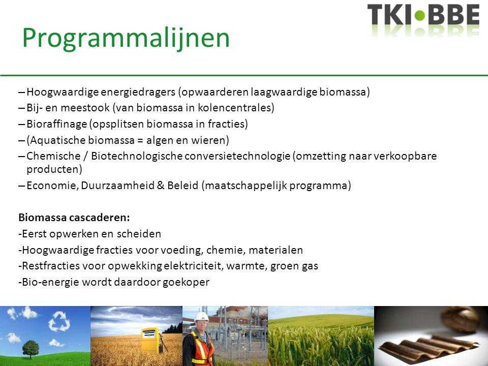Programmalijnen – Hoogwaardige energiedragers (opwaarderen laagwaardige biomassa) – Bij- en meestook (van biomassa in kolencentrales) – Bioraffinage (