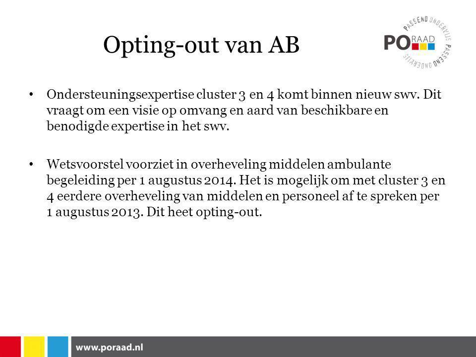 Opting-out van AB • Ondersteuningsexpertise cluster 3 en 4 komt binnen nieuw swv.