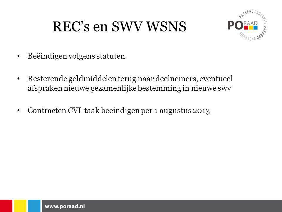 REC's en SWV WSNS • Beëindigen volgens statuten • Resterende geldmiddelen terug naar deelnemers, eventueel afspraken nieuwe gezamenlijke bestemming in nieuwe swv • Contracten CVI-taak beeindigen per 1 augustus 2013