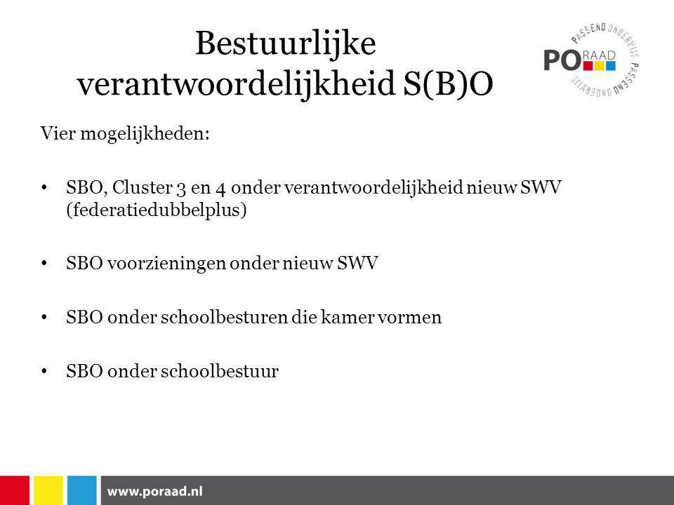 Bestuurlijke verantwoordelijkheid S(B)O Vier mogelijkheden: • SBO, Cluster 3 en 4 onder verantwoordelijkheid nieuw SWV (federatiedubbelplus) • SBO voorzieningen onder nieuw SWV • SBO onder schoolbesturen die kamer vormen • SBO onder schoolbestuur