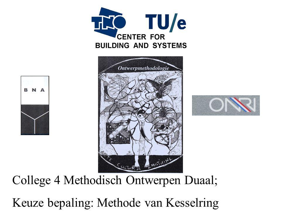 College 4 Methodisch Ontwerpen Duaal; Keuze bepaling: Methode van Kesselring