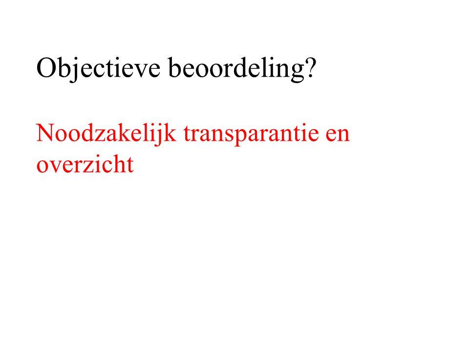 Objectieve beoordeling? Noodzakelijk transparantie en overzicht