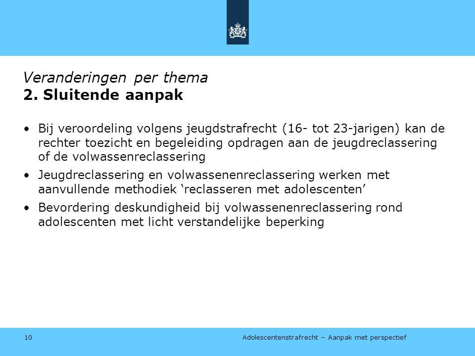 Adolescentenstrafrecht – Aanpak met perspectief Veranderingen per thema 2.