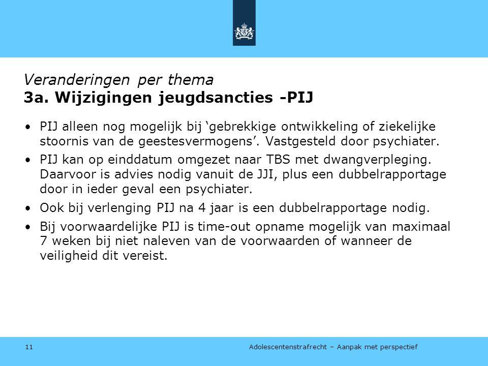 Adolescentenstrafrecht – Aanpak met perspectief Veranderingen per thema 3a.