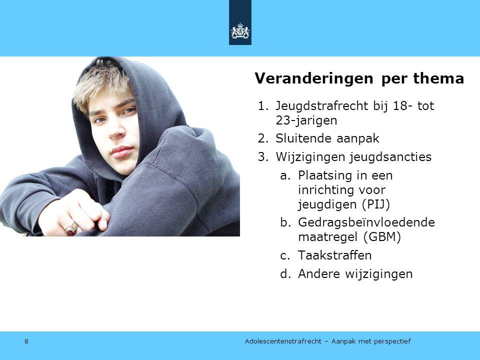 Adolescentenstrafrecht – Aanpak met perspectief Veranderingen per thema 1.Jeugdstrafrecht bij 18- tot 23-jarigen 2.Sluitende aanpak 3.Wijzigingen jeugdsancties a.Plaatsing in een inrichting voor jeugdigen (PIJ) b.Gedragsbeïnvloedende maatregel (GBM) c.Taakstraffen d.Andere wijzigingen 8