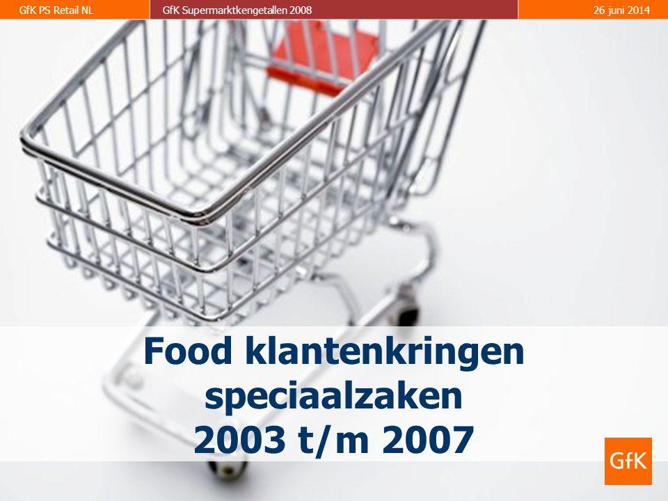 GfK PS Retail NLGfK Supermarktkengetallen 200826 juni 2014 Food klantenkringen speciaalzaken 2003 t/m 2007