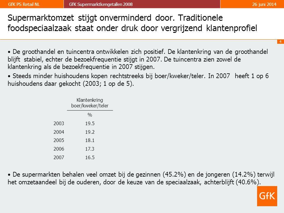 4 GfK PS Retail NLGfK Supermarktkengetallen 200826 juni 2014 • De groothandel en tuincentra ontwikkelen zich positief.