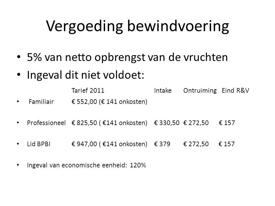 Vergoeding bewindvoering • 5% van netto opbrengst van de vruchten • Ingeval dit niet voldoet: Tarief 2011 Intake Ontruiming Eind R&V • Familiair € 552,00 (€ 141 onkosten) • Professioneel € 825,50 ( €141 onkosten)€ 330,50 € 272,50 € 157 • Lid BPBI€ 947,00 ( €141 onkosten)€ 379 € 272,50 € 157 • Ingeval van economische eenheid: 120%