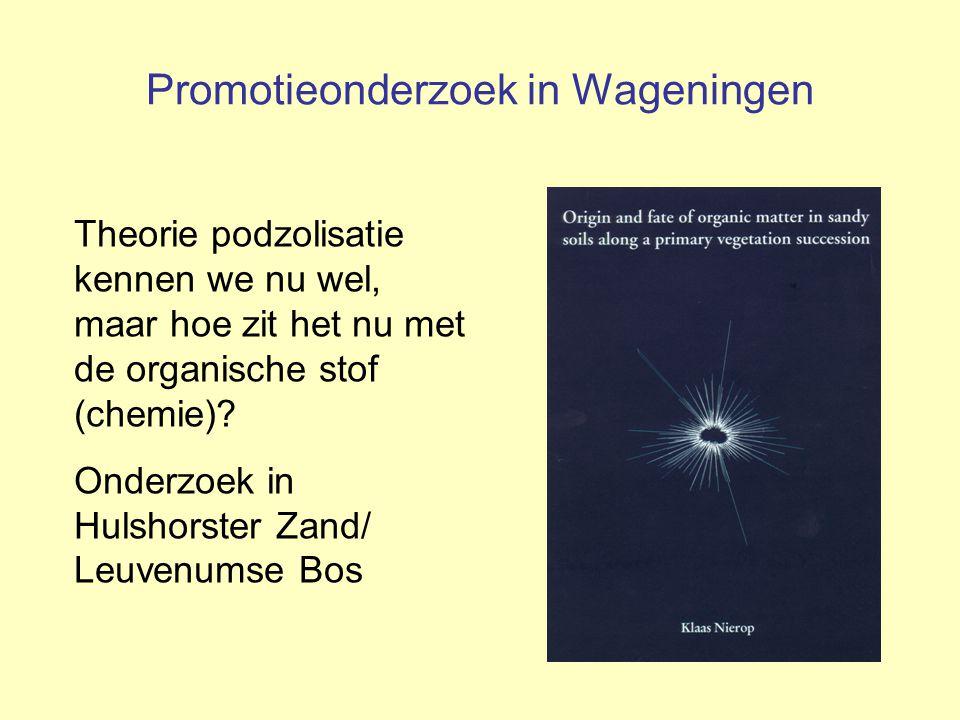 Promotieonderzoek in Wageningen Theorie podzolisatie kennen we nu wel, maar hoe zit het nu met de organische stof (chemie)? Onderzoek in Hulshorster Z