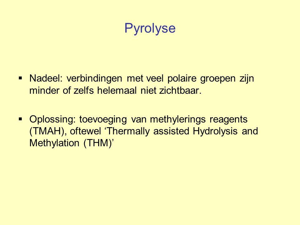 Pyrolyse  Nadeel: verbindingen met veel polaire groepen zijn minder of zelfs helemaal niet zichtbaar.  Oplossing: toevoeging van methylerings reagen