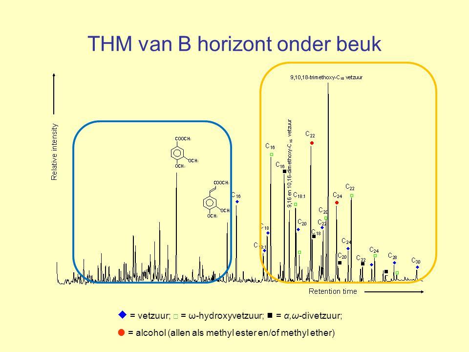 THM van B horizont onder beuk  = vetzuur; □ = ω-hydroxyvetzuur;  = α,ω-divetzuur;  = alcohol (allen als methyl ester en/of methyl ether)