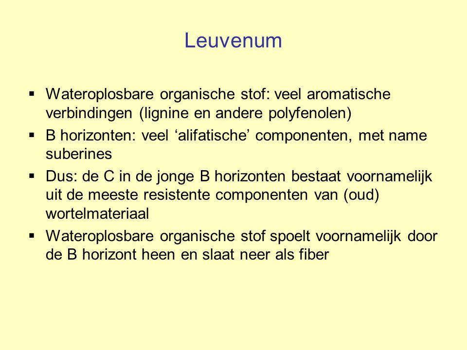 Leuvenum  Wateroplosbare organische stof: veel aromatische verbindingen (lignine en andere polyfenolen)  B horizonten: veel 'alifatische' componente